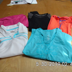 Lot of 5 Women's Workout Tops all Lg Under Arm/Nik